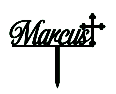 Custom Name with Cross - Cursive Font