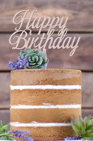 Cake Topper - Happy Birthday swirl