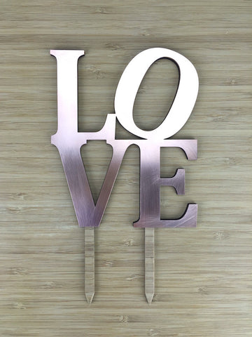 Copper LOVE Cake Topper