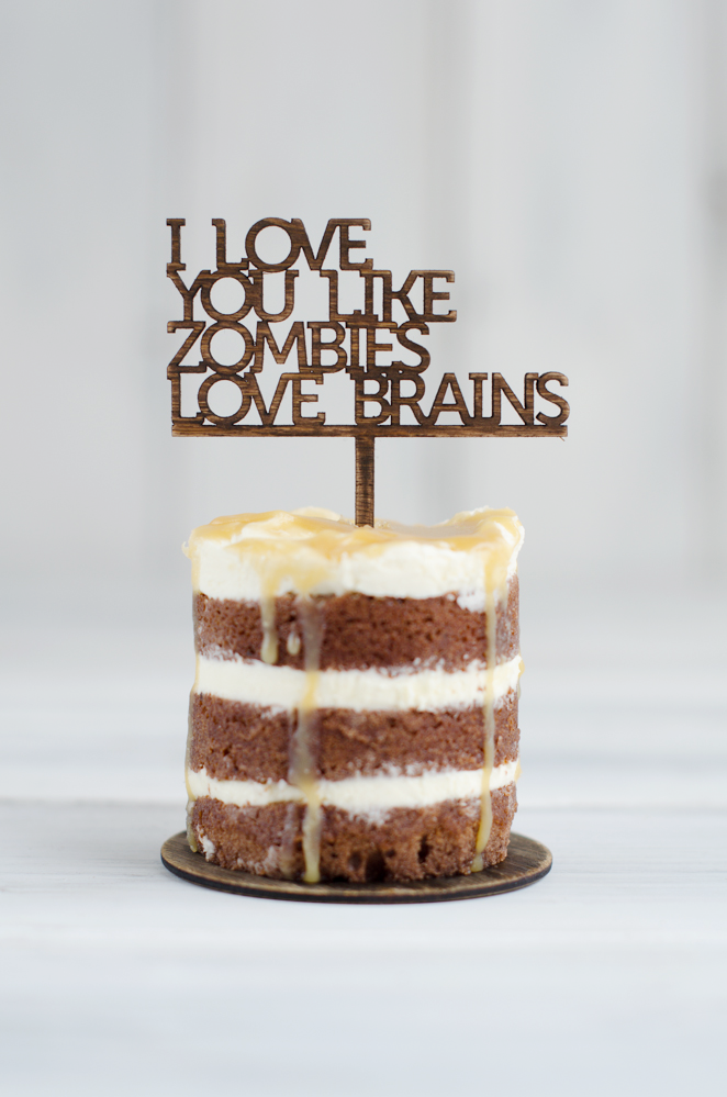 Cupcake Topper - I Love you like zombies love brains