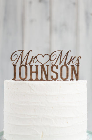 Cake Topper - Custom Mr (heart) Mrs