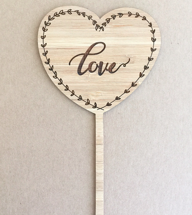 Etched Love Heart Cake Topper