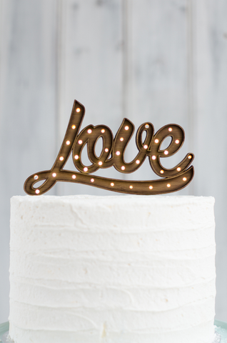 Marquee Light Up Cake Topper - LOVE Cursive