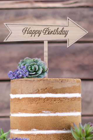 Cake Topper - Happy Birthday Etched Arrow