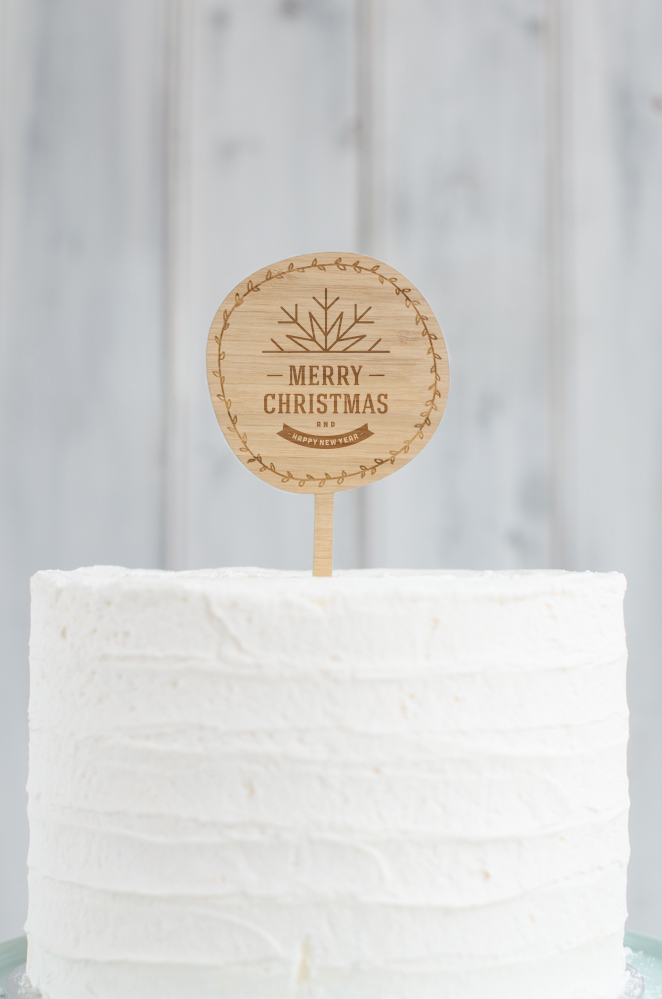 Round Merry Christmas Cake Topper