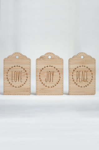 LOVE JOY PEACE Christmas Gift Tags