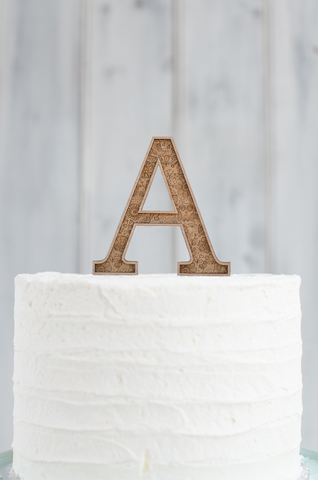 Marquee Cake Topper with Etched Pattern - Single Letter