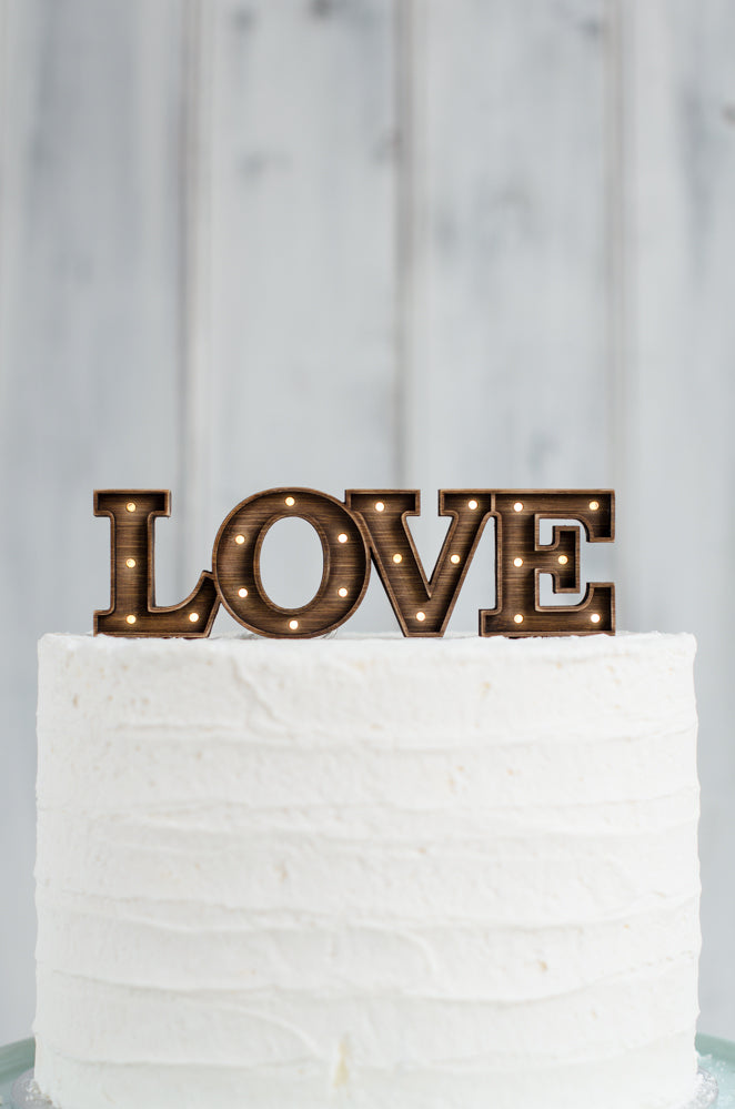 Marquee Light Up Cake Topper - LOVE
