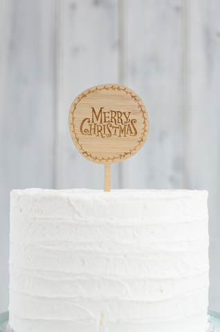Round Christmas Cake Topper