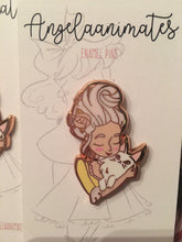 Load image into Gallery viewer, Marie Antoinette and Cat Enamel Pin