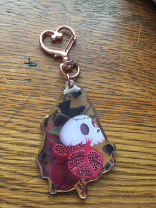 Skull Rose Pomegranate  Double Sided Keychain