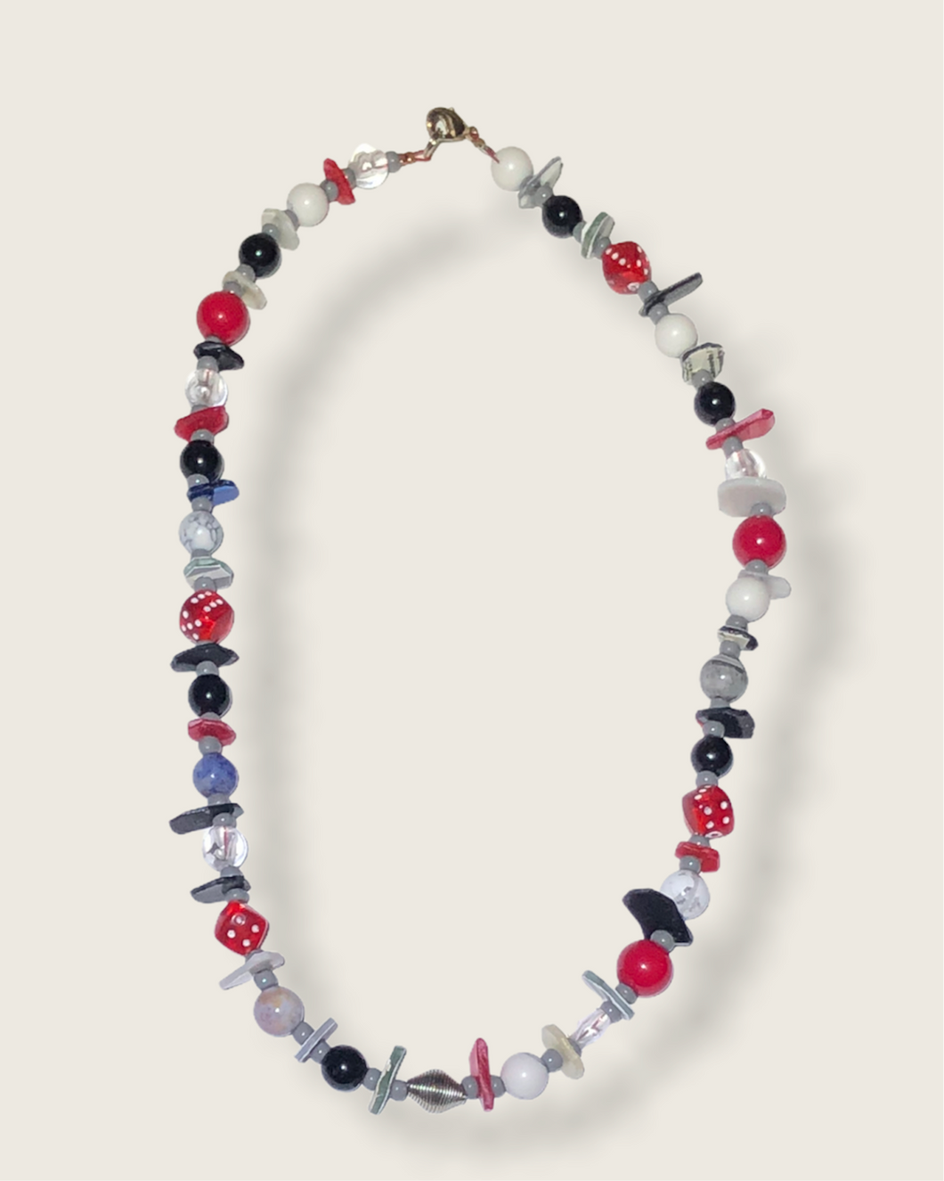 Red black grey beaded necklace