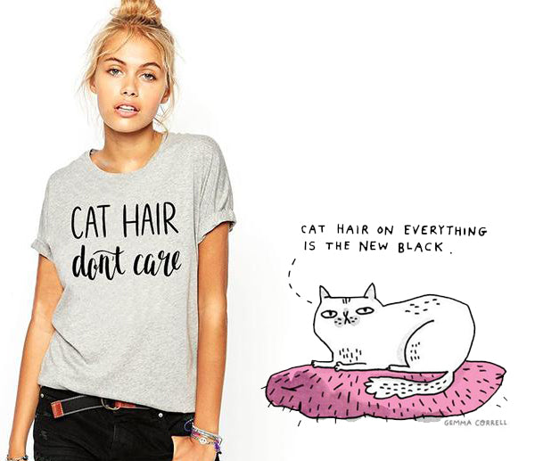 cat hair don't care tshirt
