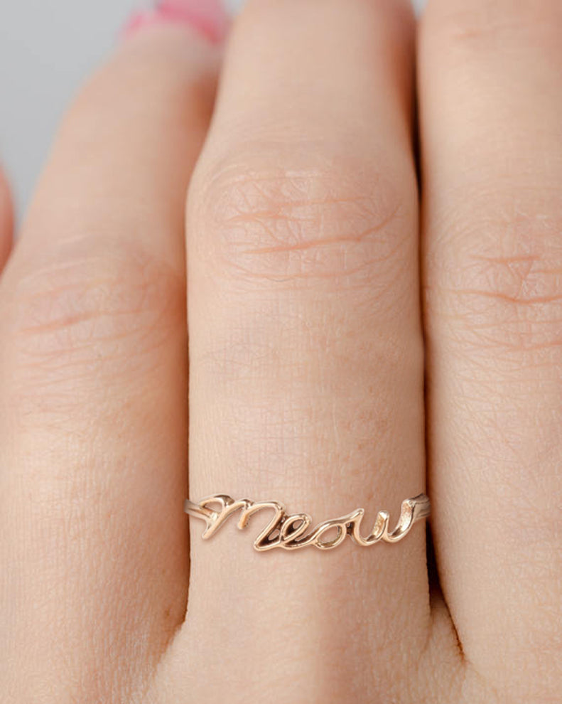 meow cat ring meow script ring
