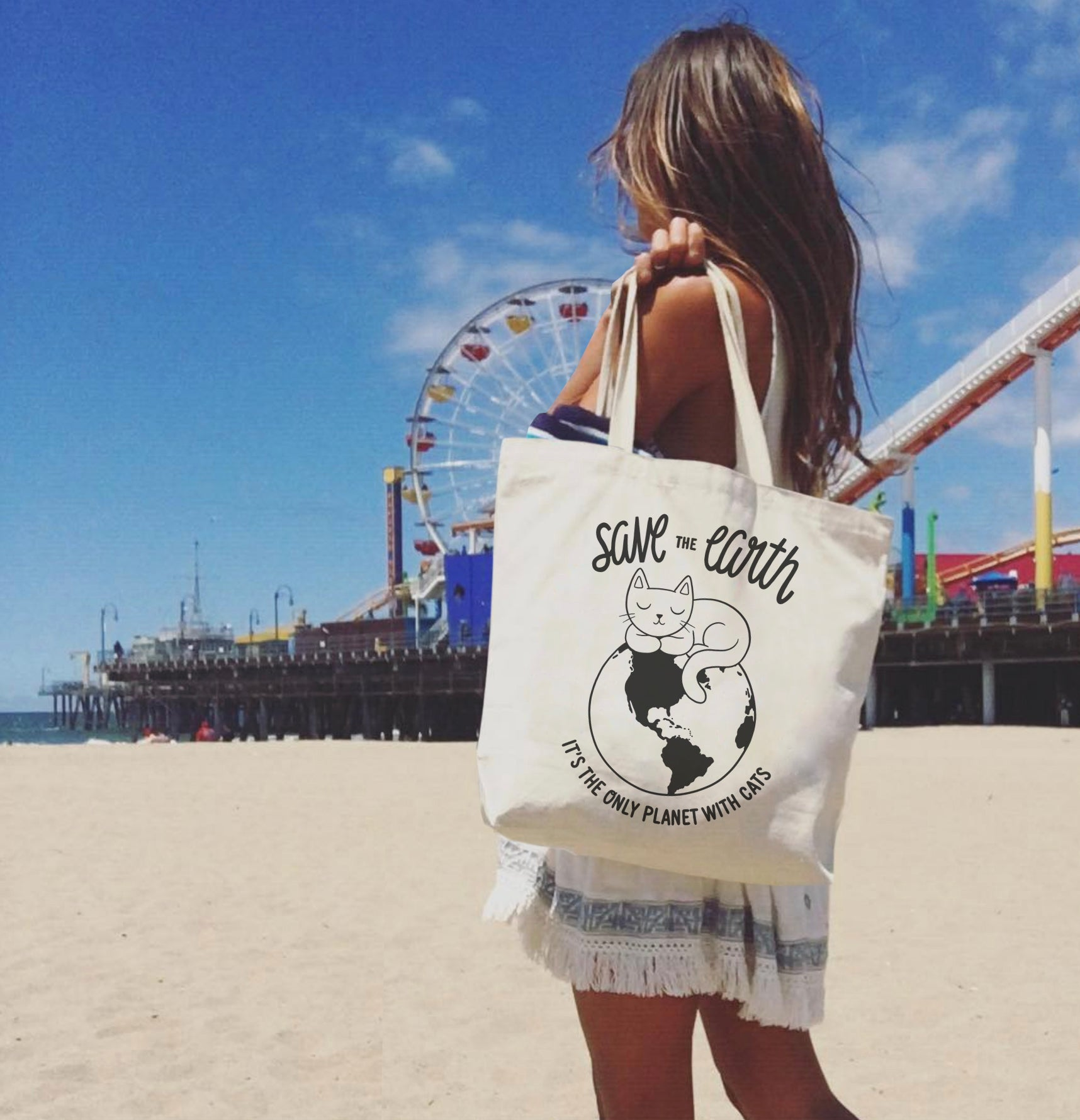 save the earth cat tote summer tote