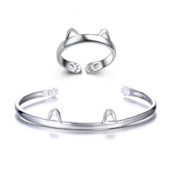 Paws and Ears Cat Bracelet & Ring Set