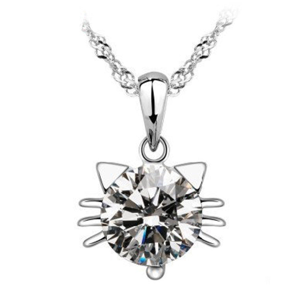 with sitting white cat bling sterling silver jewelry and pen black bow oa animal pendant cz micro pave necklace