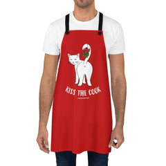 Kiss the Cook Mistletoe Cat Apron