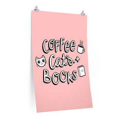 Coffee, Cats and Books Poster