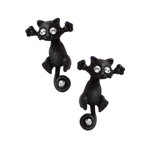 Black Jack Cat Earrings