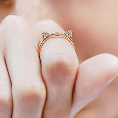 Diamond Cat Ears Ring by Meowingtons