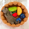 memory foam fruit tart cat bed with fruit shaped pillows