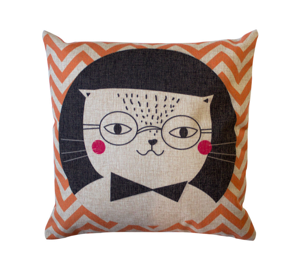 Hipster Cat Toss Pillow Cover