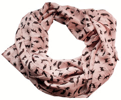 Pink Clowder Black Cat Print 100% Chiffon Scarf Wrap