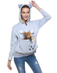 Grey Cat Carrier Pouch Hoodie with Cute Cat Ears