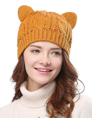 Halloween Orange Cat Ear Beanie Crochet Pattern Hat