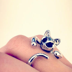 Adjustable Silver Sphynx Cat Ring from Meowingtons