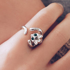 Adjustable Silver Sphynx Cat Ring by Meowingtons