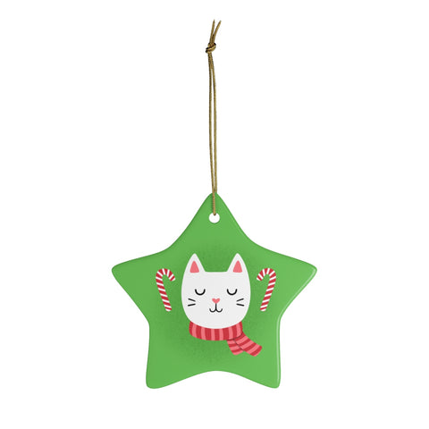Candy Cane Cat Ornament