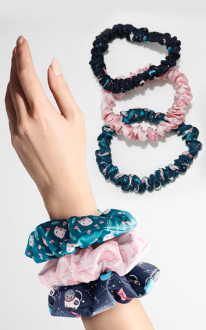 Limited Edition Silk Cat Scrunchies Set Featuring Milton