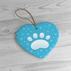 Snow Cat Paw Print Ornament