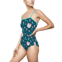 Flower Cat One-Piece Swimsuit