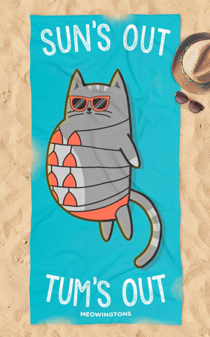 Sun's Out, Tum's Out Beach Towel