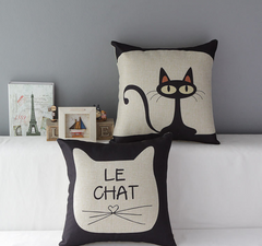 The canvas Mr. Kitster & Le Chat Toss Pillow Case