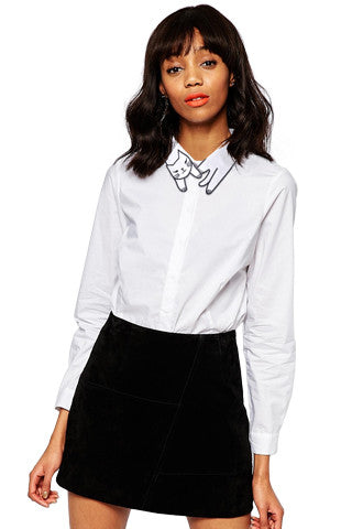 Classy Cat Collared Blouse
