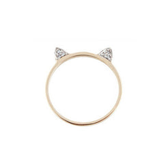 Diamond Accent Gold Cat Ears Ring
