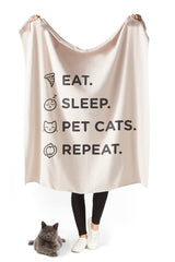 Eat, Sleep & Pet Cats Sherpa Blanket