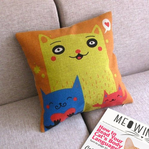 Cat Fam Love Toss Pillow Covers