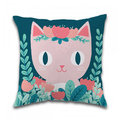 Floral Cat Toss Pillow