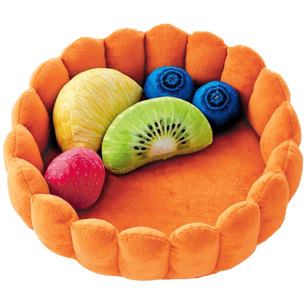 Orange Fruit Tart Cat Bed with 5 fruit cushions