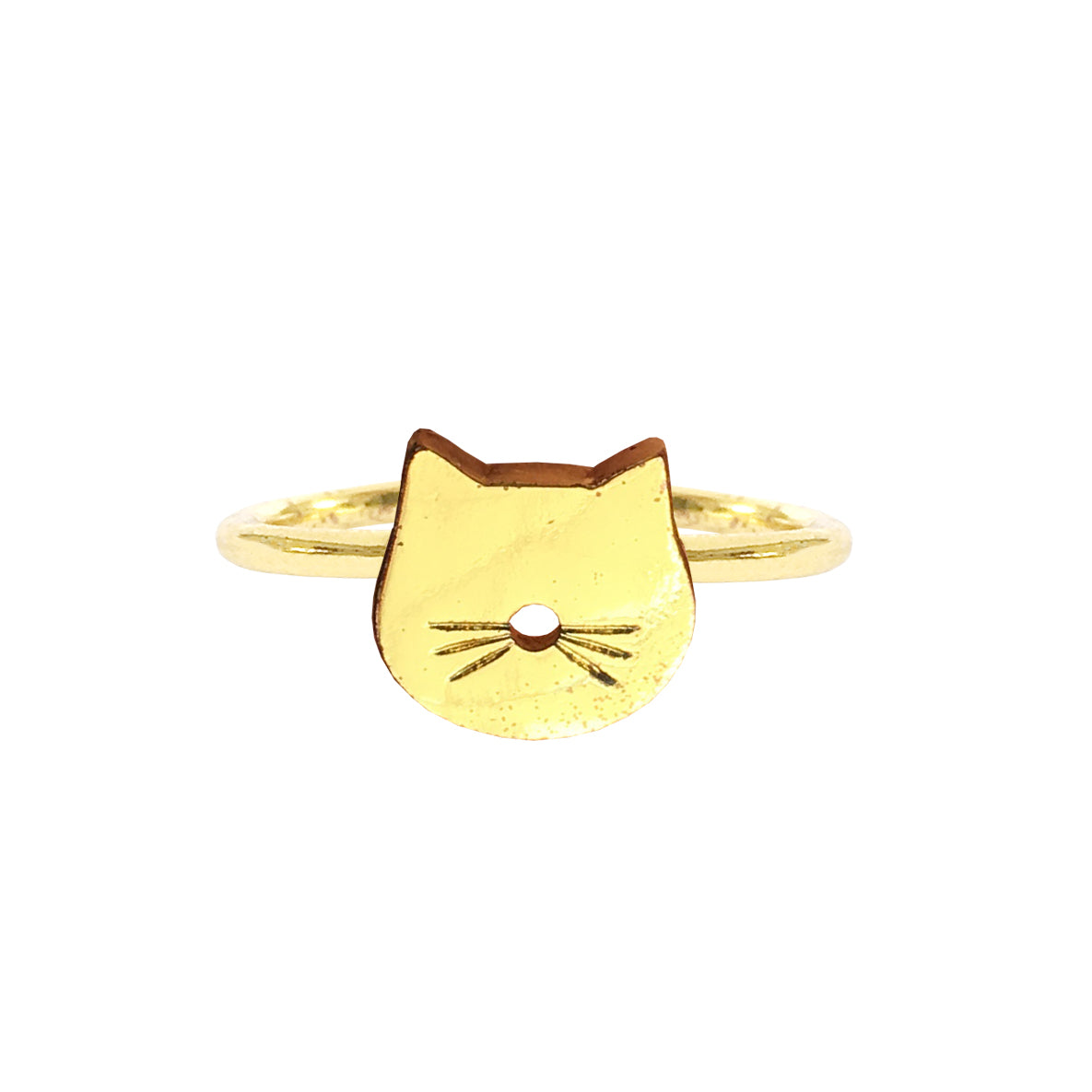 dainty cat ring gold cat face ring