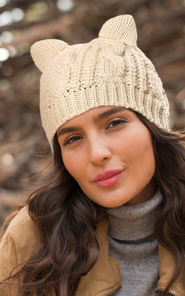 Cute Beige Cat Ear Beanie Knitting Pattern