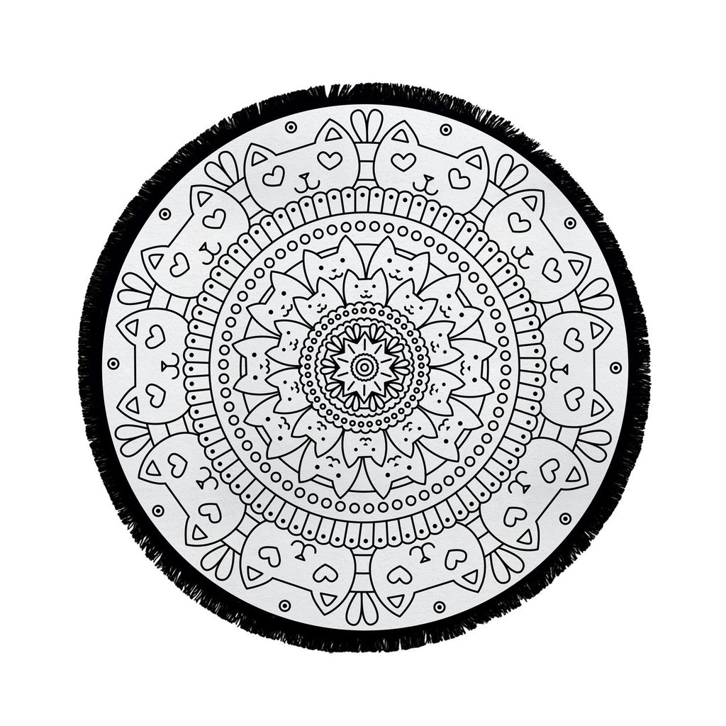 Circle Cat Mandala Beach Towel