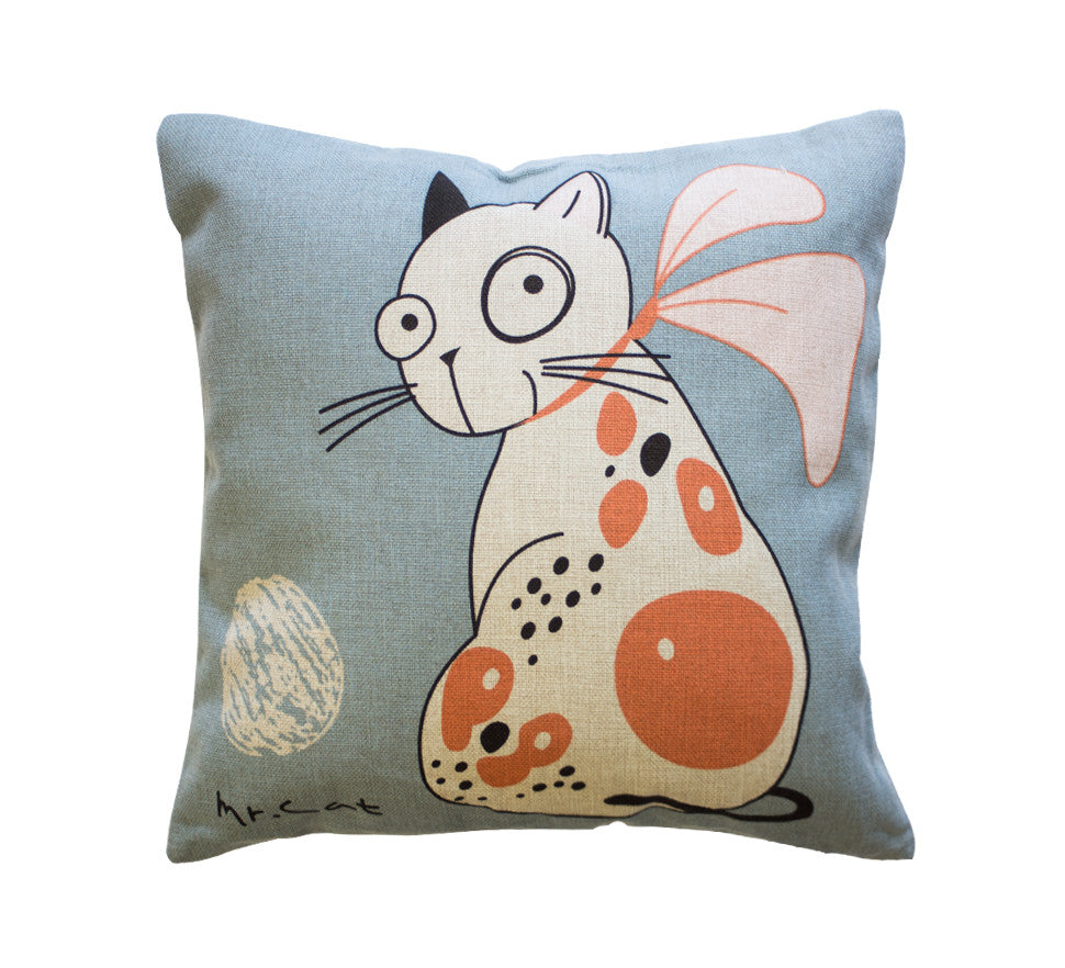 Mr. Cat Toss Toss Pillow Cover