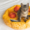 Pizza Cat Bed includes 3 pepperoni pillows and 3 anchovy pillows