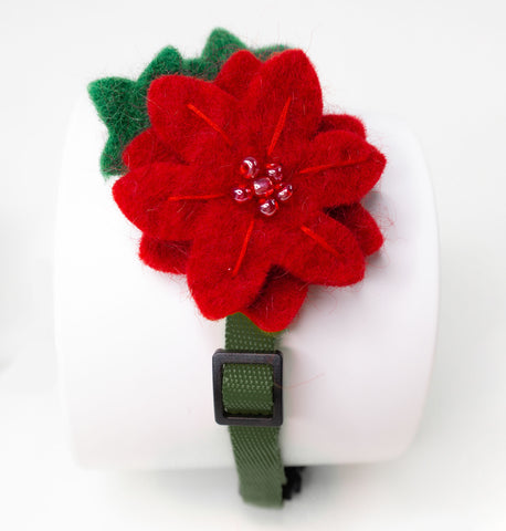 Holiday Poinsettia Cat Collar Accessory